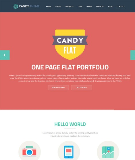 Candy Onepage Flat Responsive WordPress Theme