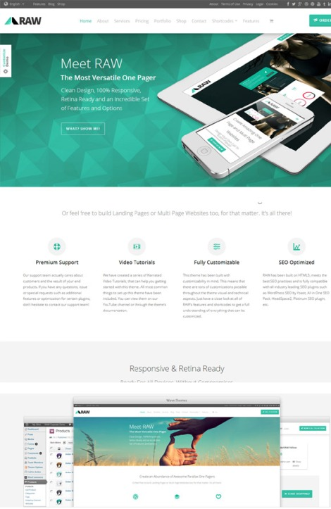 Raw One Page Multipurpose WordPress Theme